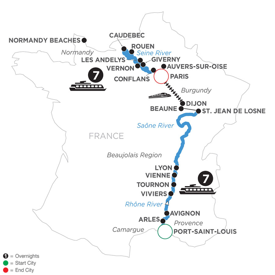 River Cruise Map of Grand France (Northbound)