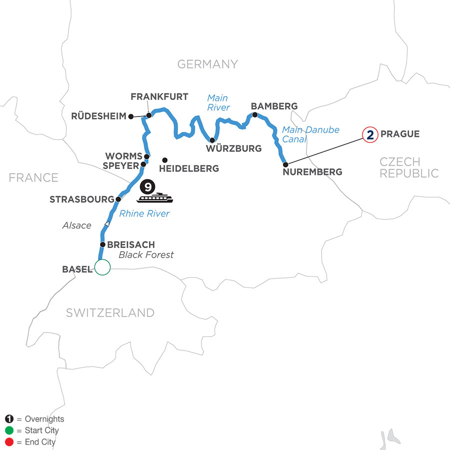 River Cruise Map of Christmastime from Basel to Nuremberg with 2 Nights in Prague