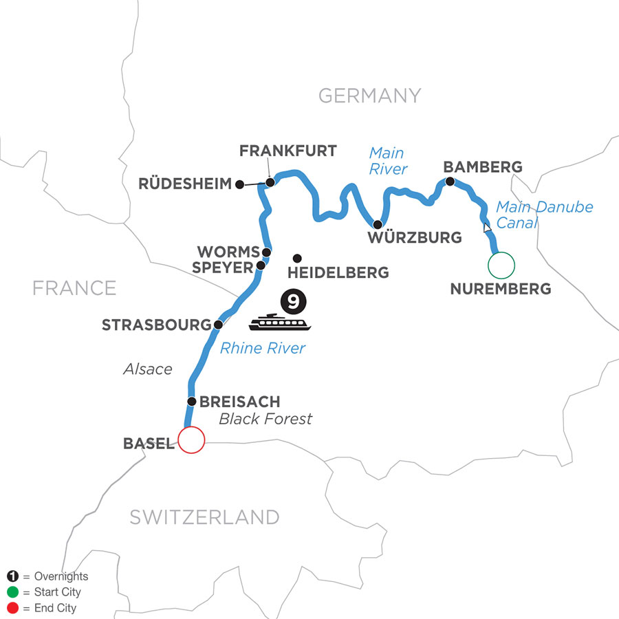 River Cruise Map of Christmastime from Nuremberg to Basel