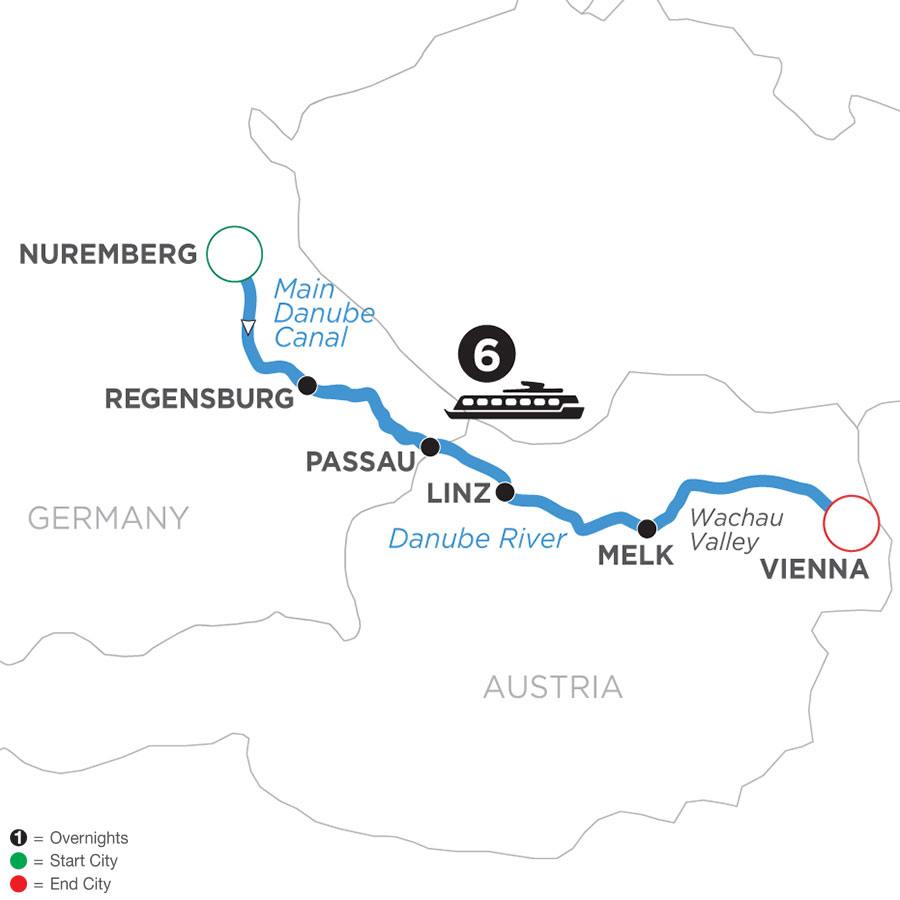 River Cruise Map of Christmastime on the Danube (Eastbound)
