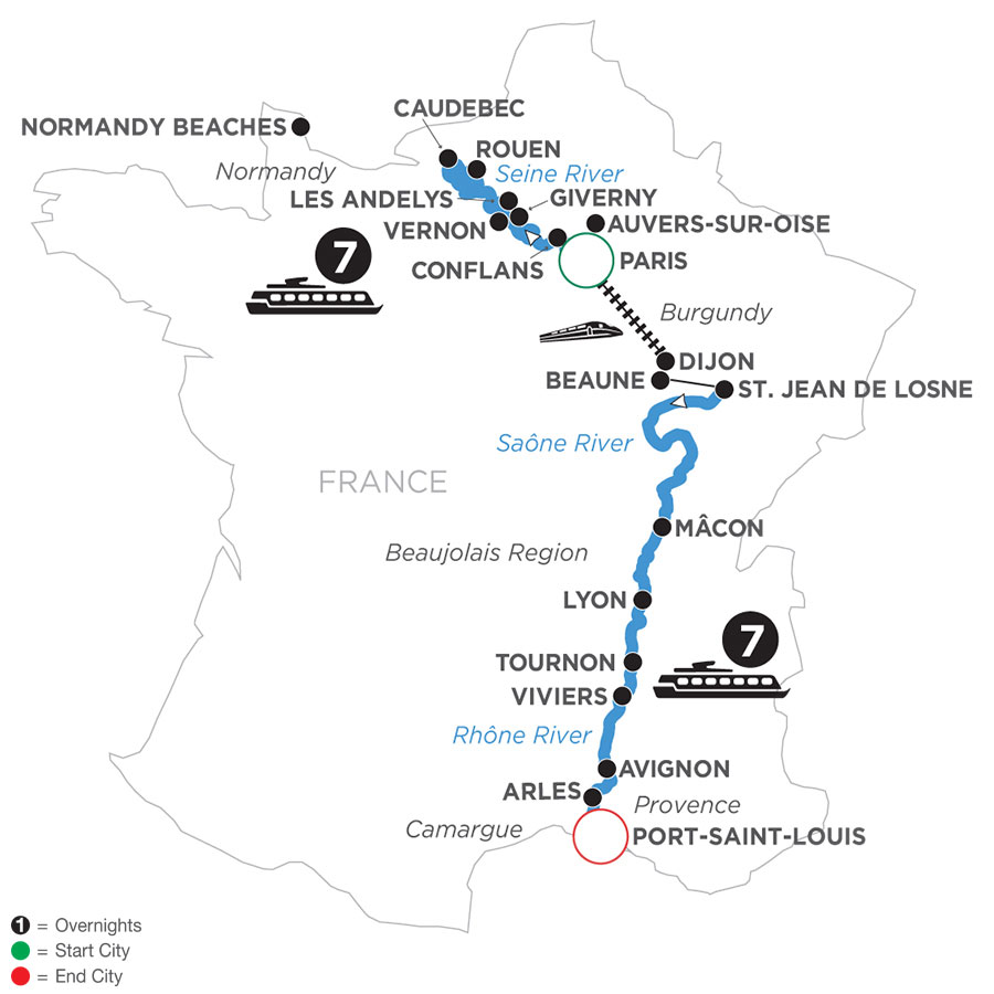 River Cruise Map of Grand France (Southbound)