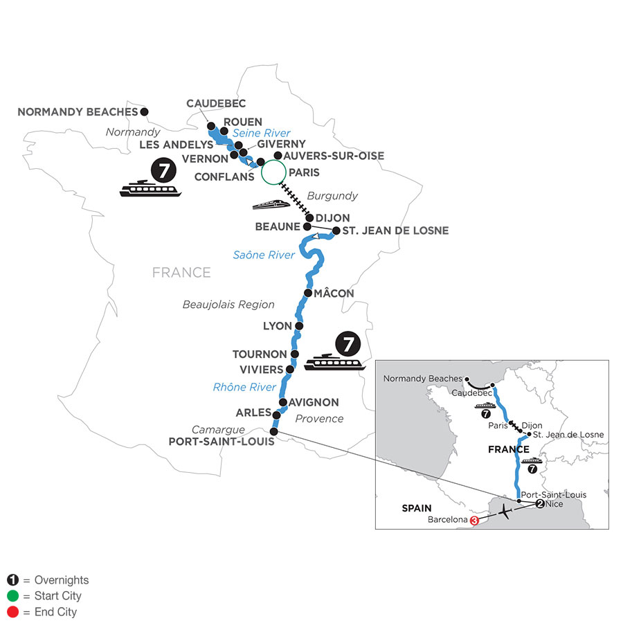 River Cruise Map of Grand France with 2 Nights in Nice & 3 Nights in Barcelona (Southbound)