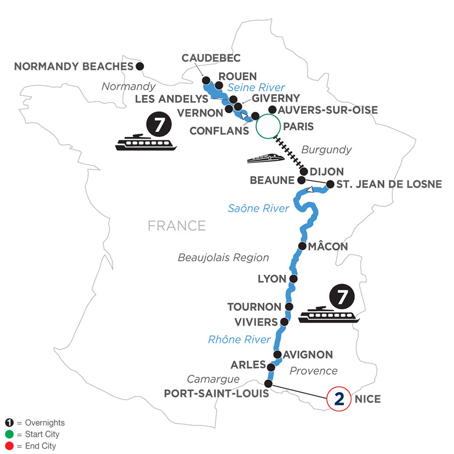 River Cruise Map of Grand France with 2 Nights in Nice (Southbound)
