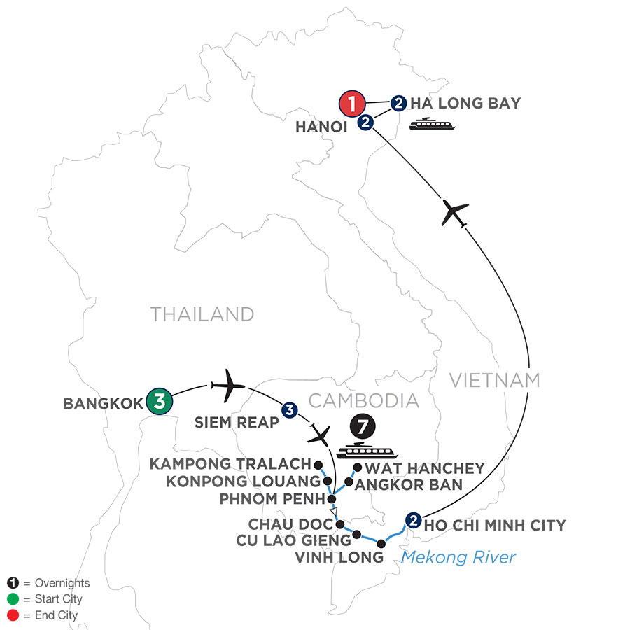 River Cruise Map of The Heart of Cambodia & Vietnam with Bangkok (Southbound)