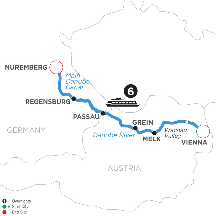 River Cruise Map of Christmastime on the Danube (Westbound)