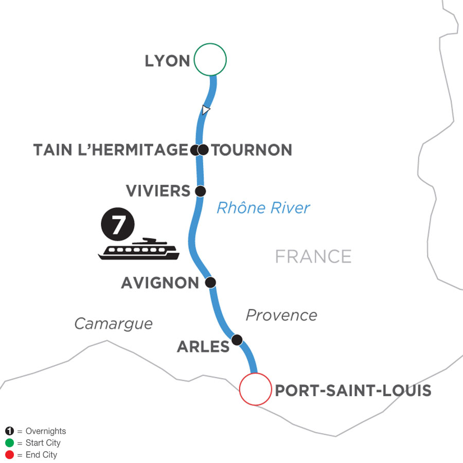 River Cruise Map of Active & Discovery on the Rhône (Southbound)