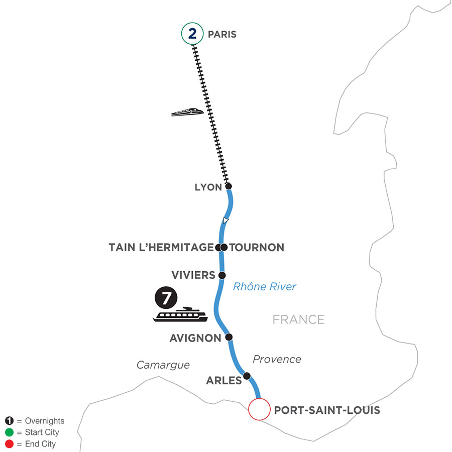 River Cruise Map of Active & Discovery on the Rhône with 2 Nights in Paris (Southbound)