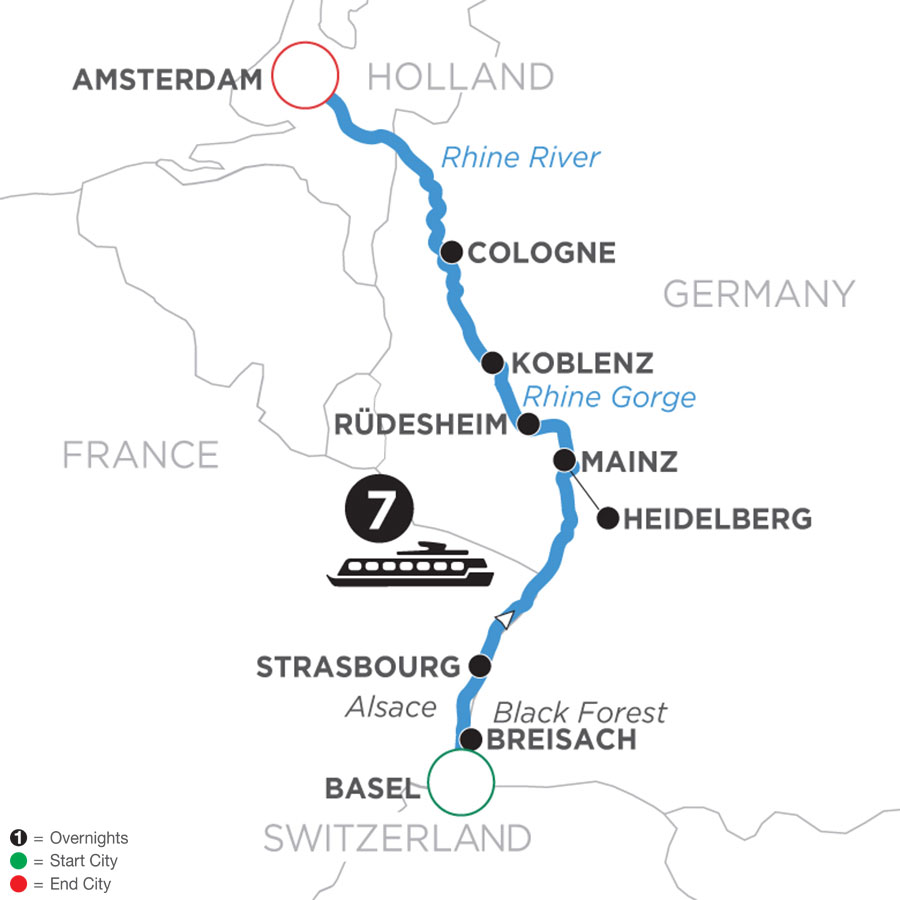 River Cruise Map of Romantic Rhine (Northbound)