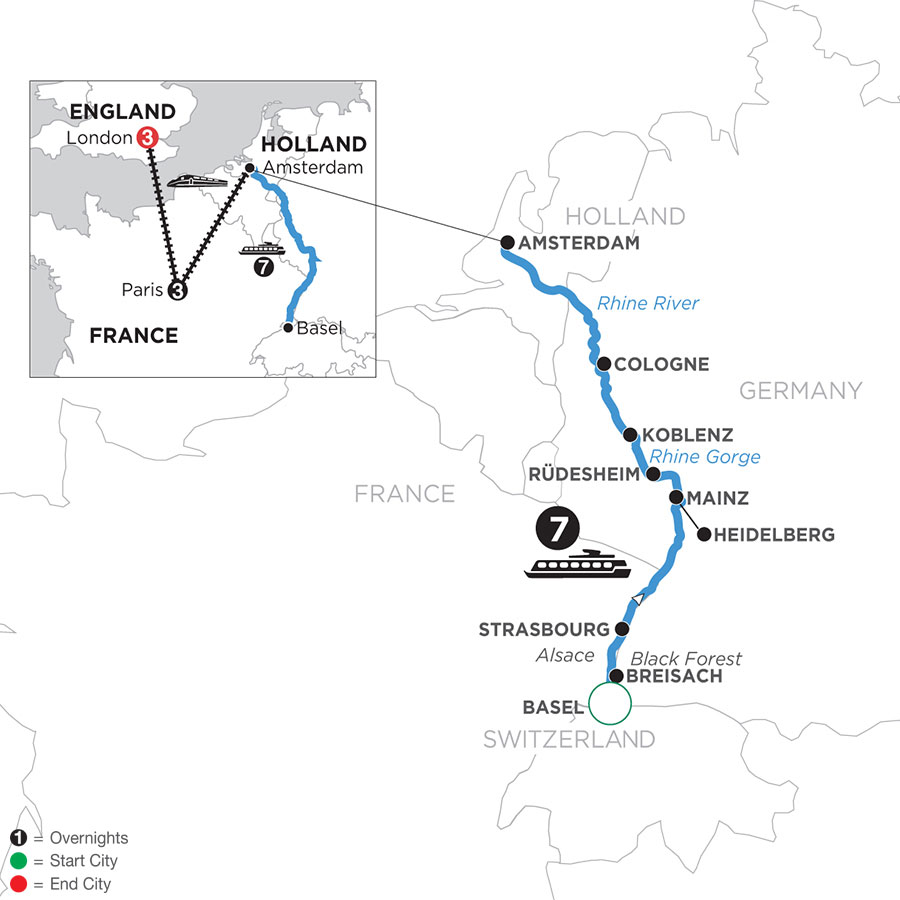 River Cruise Map of Romantic Rhine with 3 Nights in Paris & 3 Nights in London (Northbound)
