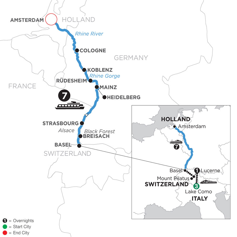 River Cruise Map of Romantic Rhine with 3 Nights in Lake Como & 1 Night in Lucerne & Mount Pilatus (Northbound)