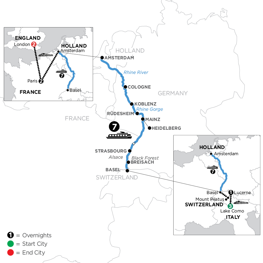 River Cruise Map of Romantic Rhine with 3 Nights in Lake Como, 1 Night in Lucerne, Mount Pilatus,  2 Nights in Paris & 2 Nights in London (Northbound)