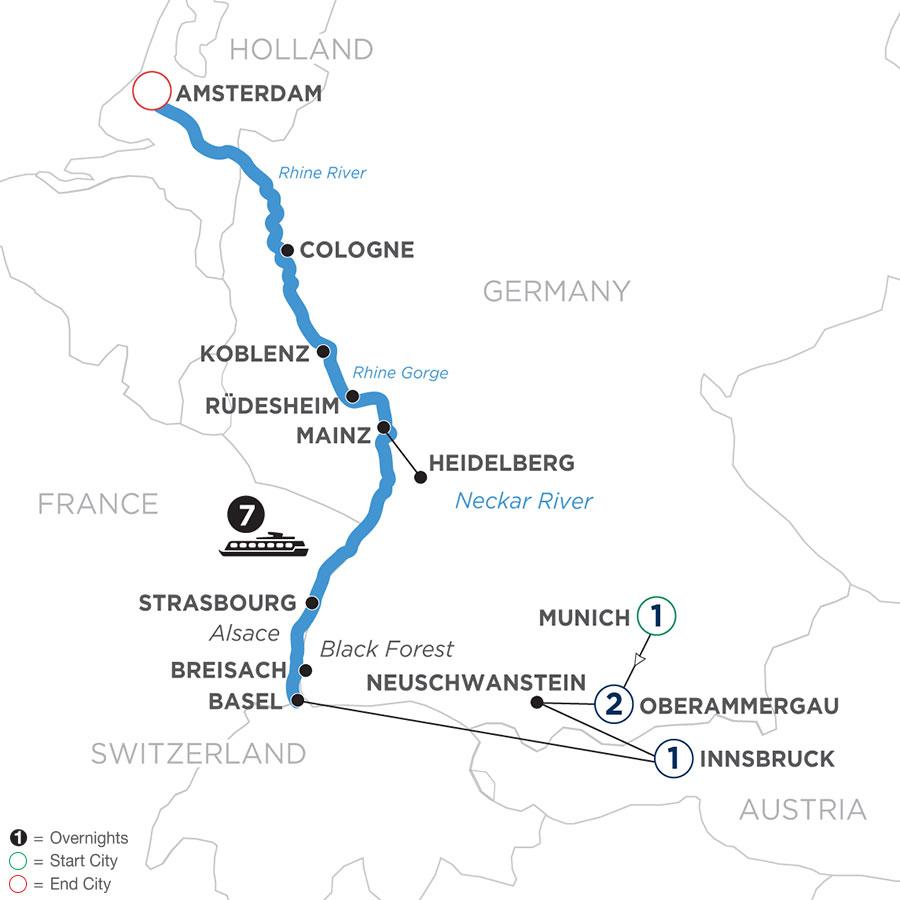 Romantic Rhine with 1 Night in Munich, 2 Nights in Oberammergau and 1 Night in Innsbruck map