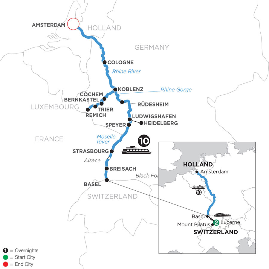 River Cruise Map of The Rhine & Moselle with 2 Nights in Lucerne (Northbound)