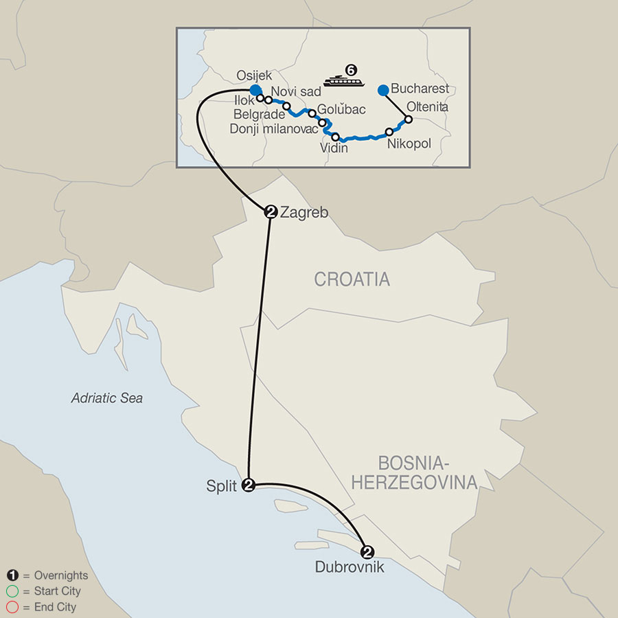 River Cruise Map of Balkan Odyssey with A Taste of Croatia