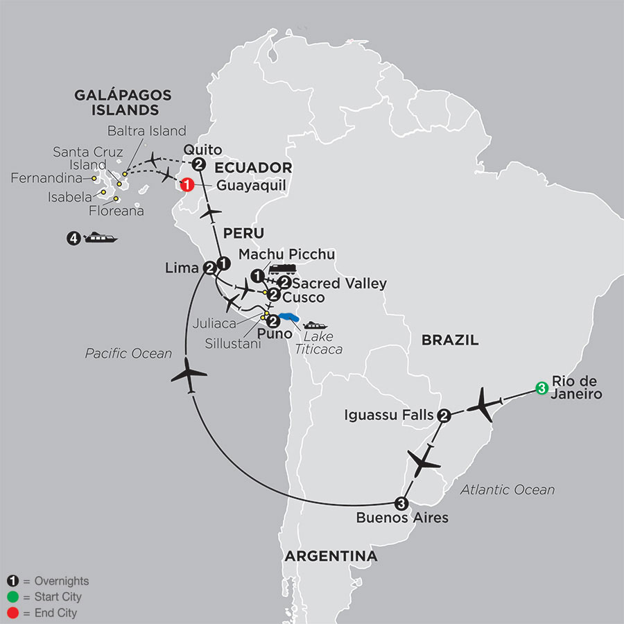 Ultimate South America with Galapagos Cruise map