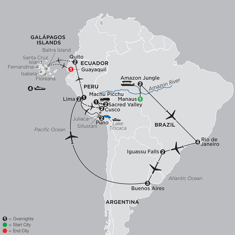 Ultimate South America with Brazil's Amazon & Galapagos Cruise map