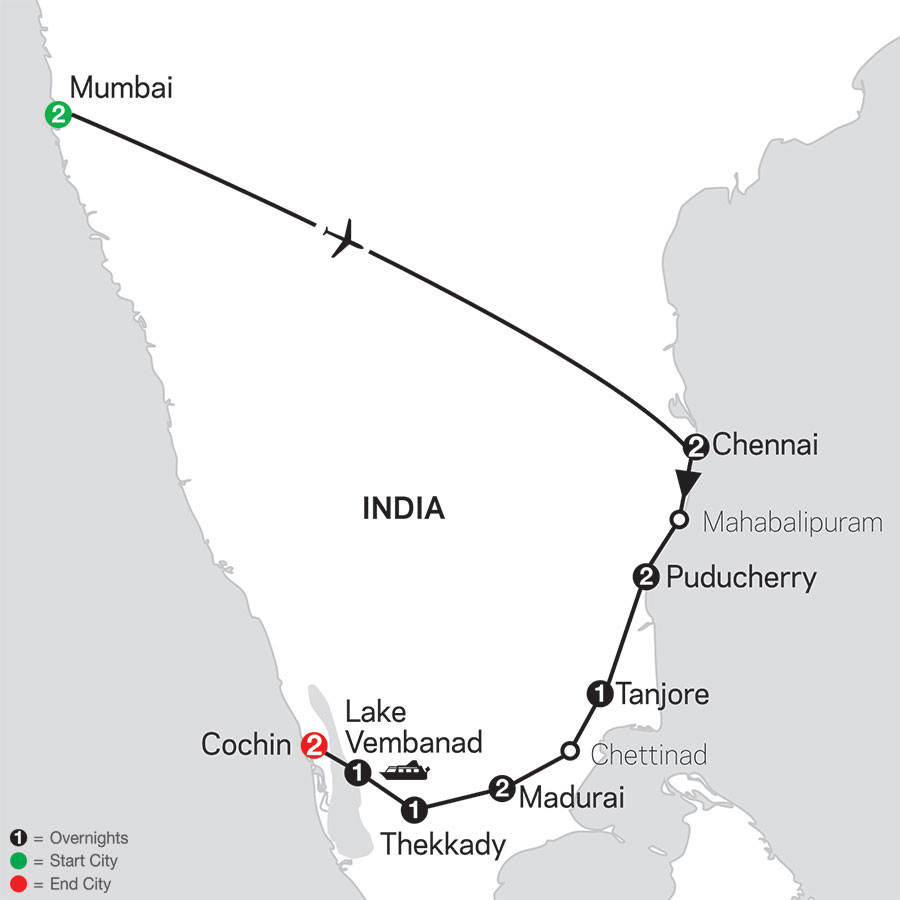 Discover Southern India & Kerala with Mumbai map