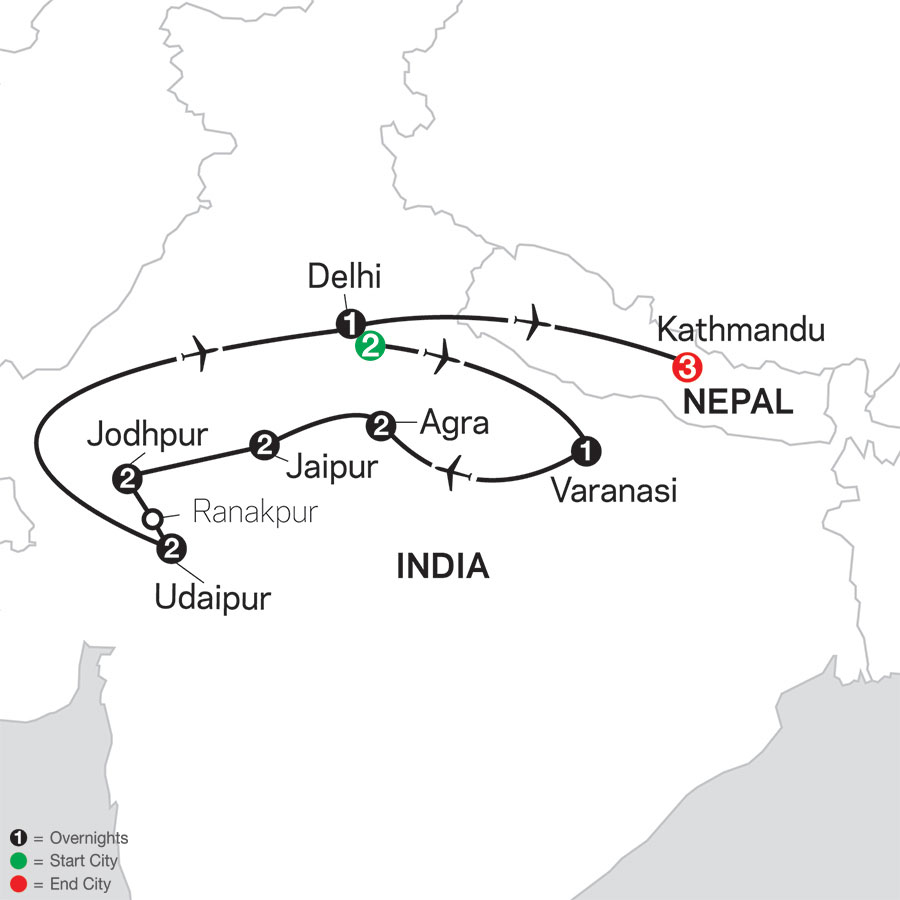 Highlights of Northern India with Kathmandu map