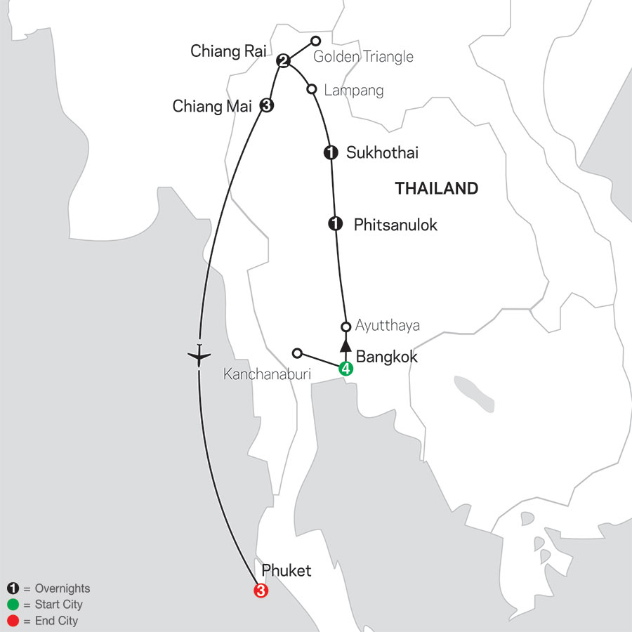 Thailand Experience with Phuket map