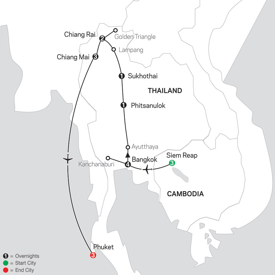 Thailand Experience with Siem Reap & Phuket map