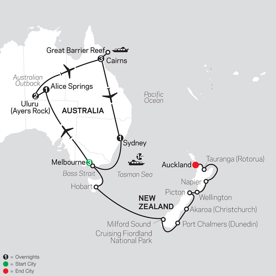 Highlights of Australia with New Zealand Cruise on October 13, 2020 map