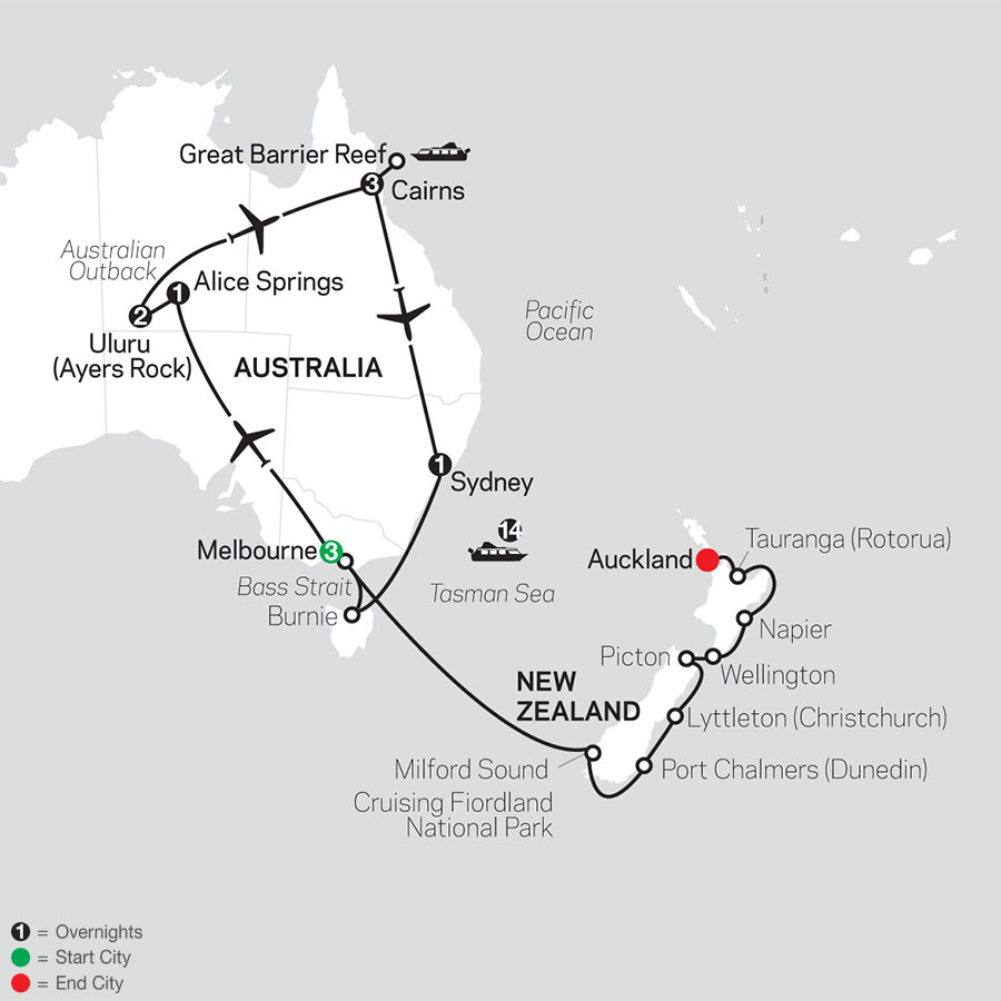 Highlights of Australia with New Zealand Cruise on November 24, 2020 map