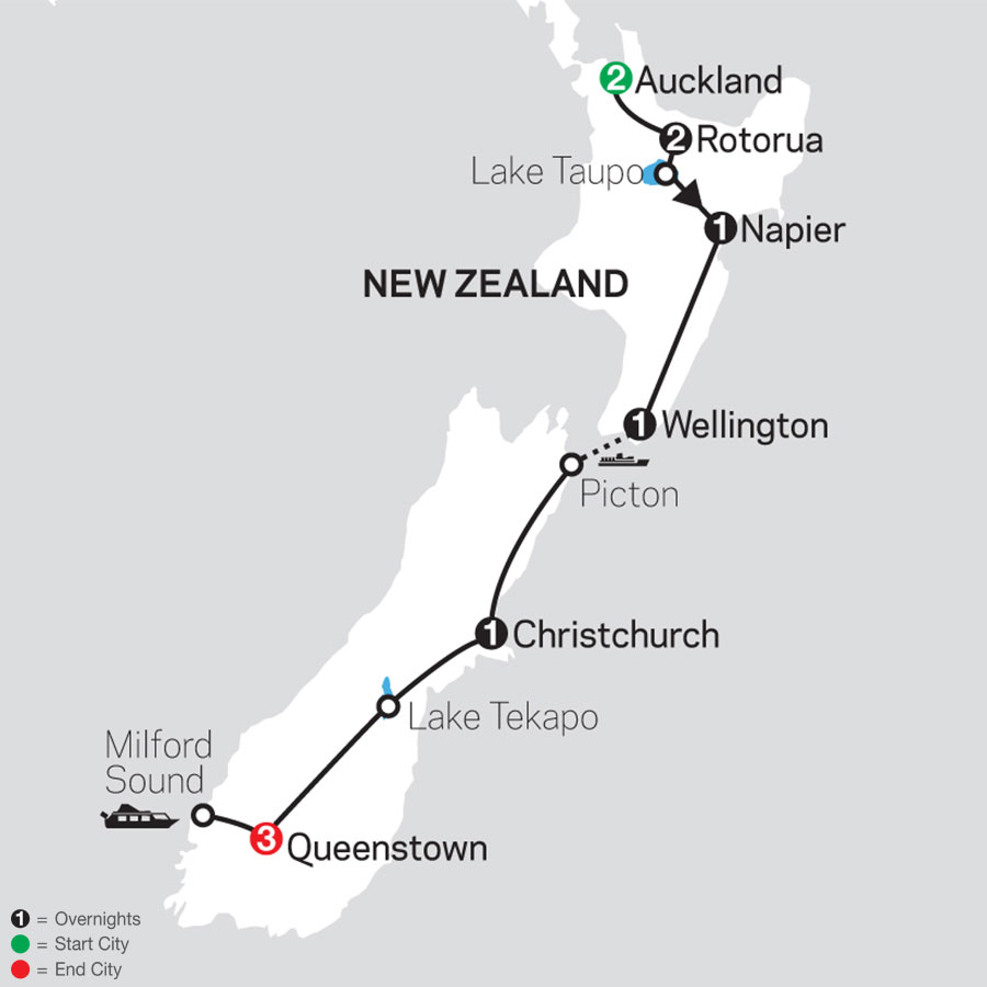 Highlights of New Zealand map