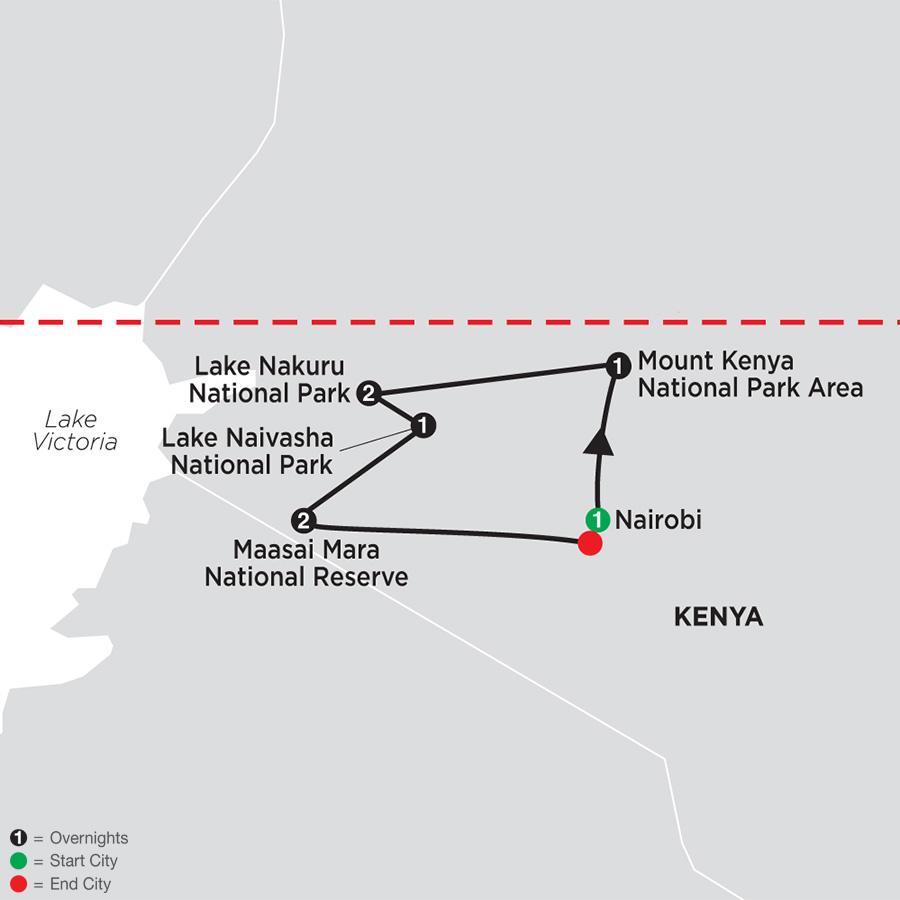 On Safari in Kenya map