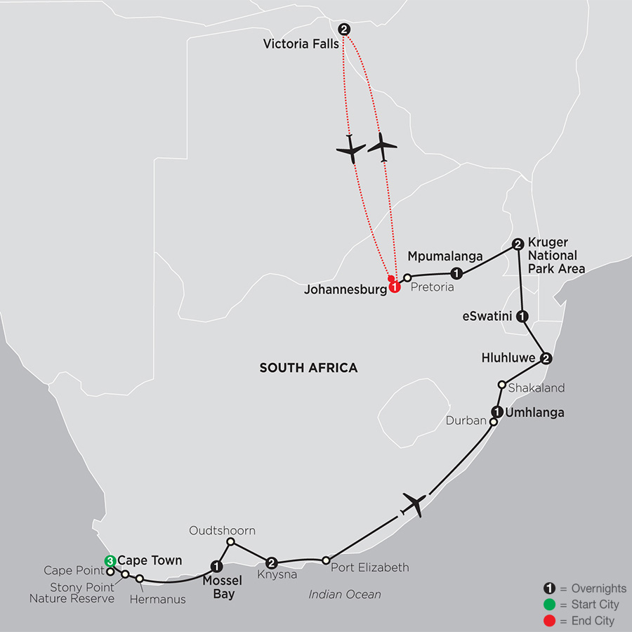 South Africa: From the Cape to Kruger with Victoria Falls map