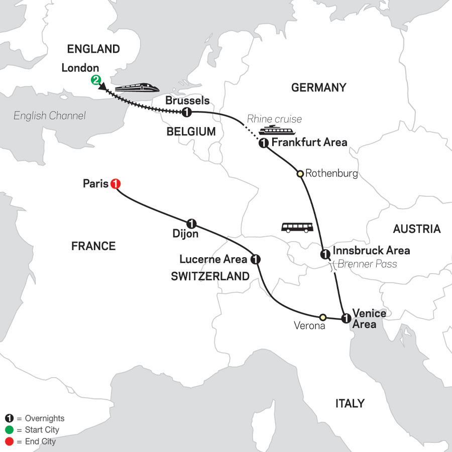 Seven Countries, Venice & Paris map