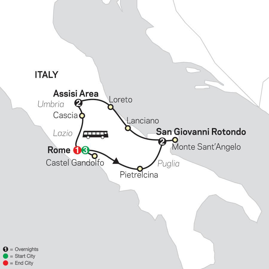 Spiritual Highlights of Italy – Faith-Based Travel map