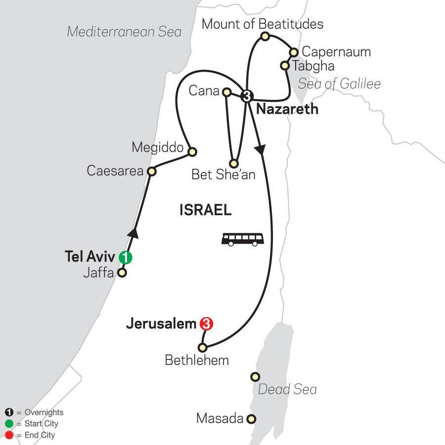 Holy Land Discovery - Faith-Based Travel – Catholic Itinerary map