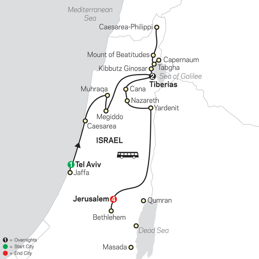 Biblical Israel - Faith-Based Travel – Protestant Itinerary map