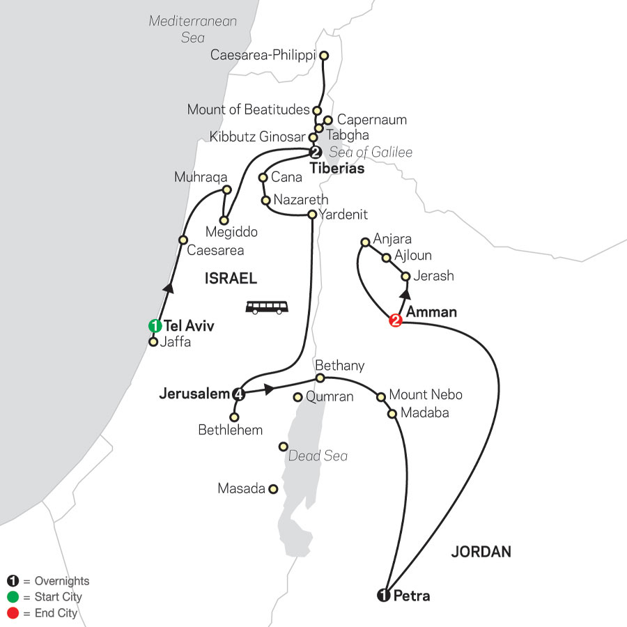 Biblical Israel with Jordan - Faith-Based Travel – Protestant Itinerary map