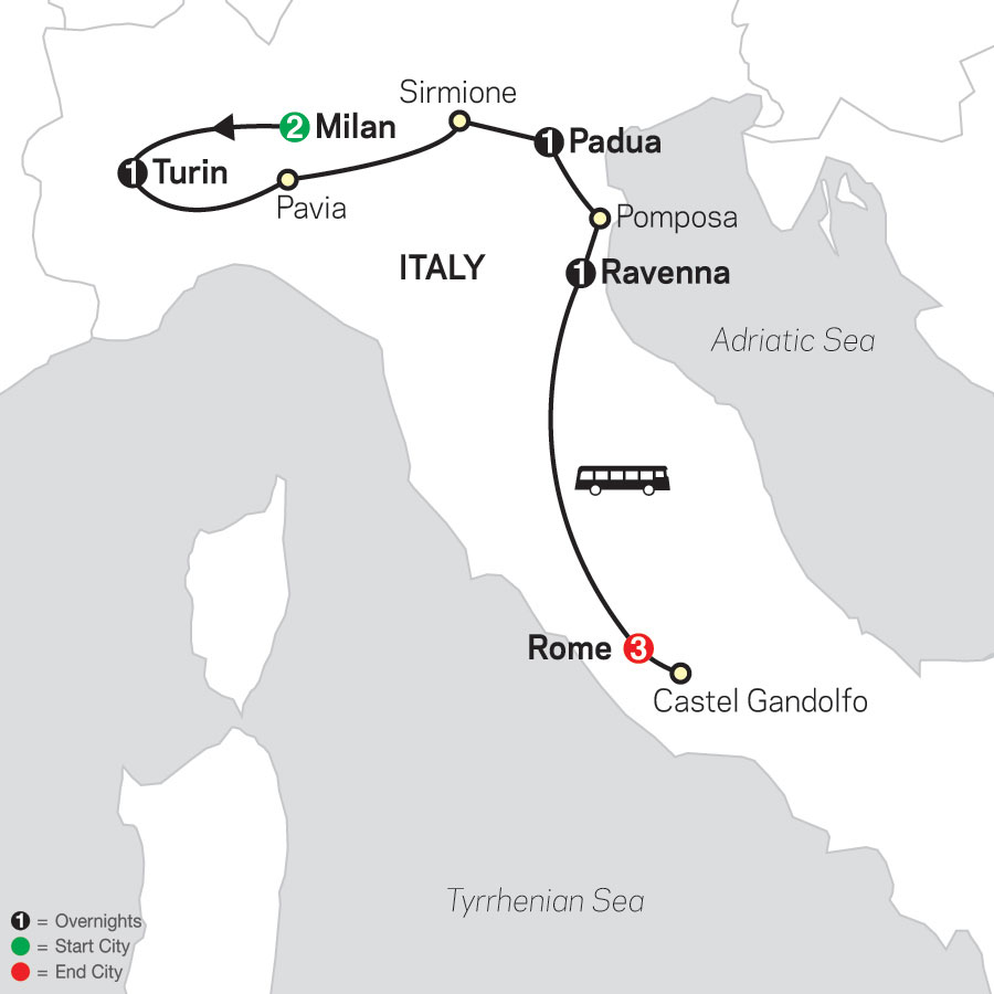 Shrines of Northern Italy & Rome - Faith-Based Travel map