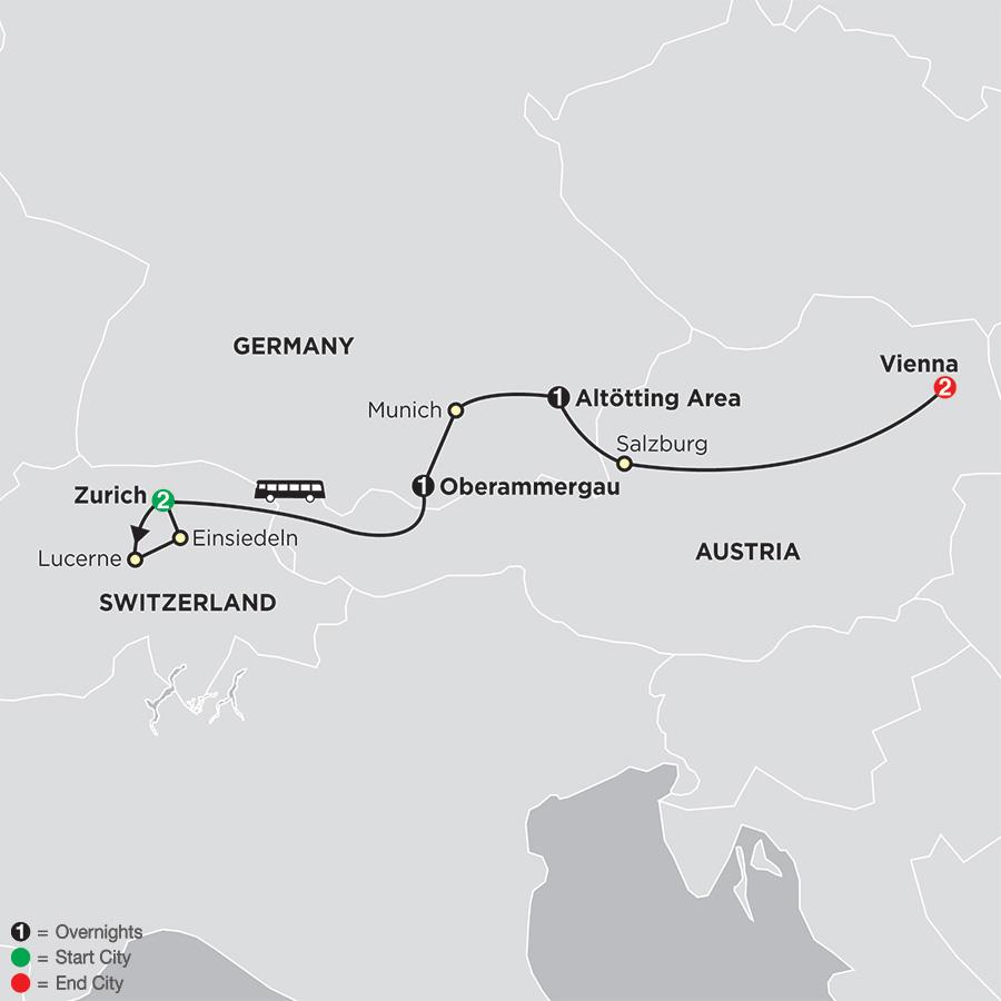 Shrines of Alpine Europe with Oberammergau–Faith–Based Travel map