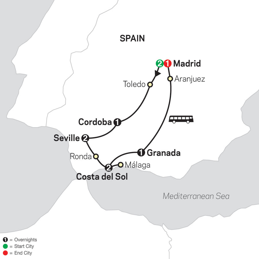 Madrid & Southern Spain map