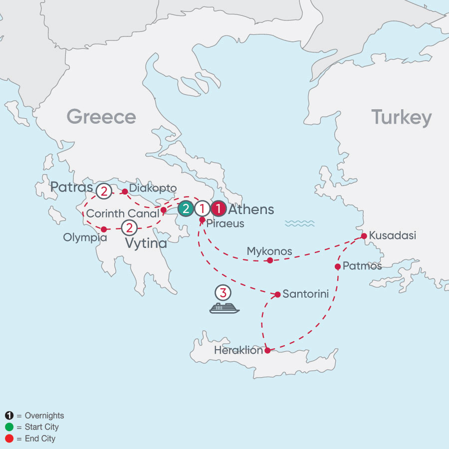 Greece Explorer & Aegean Islands Cruise map