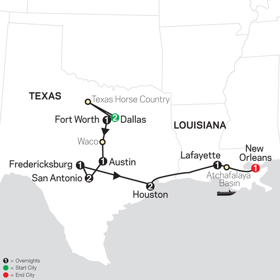 The Lone Star State to the French Quarter map