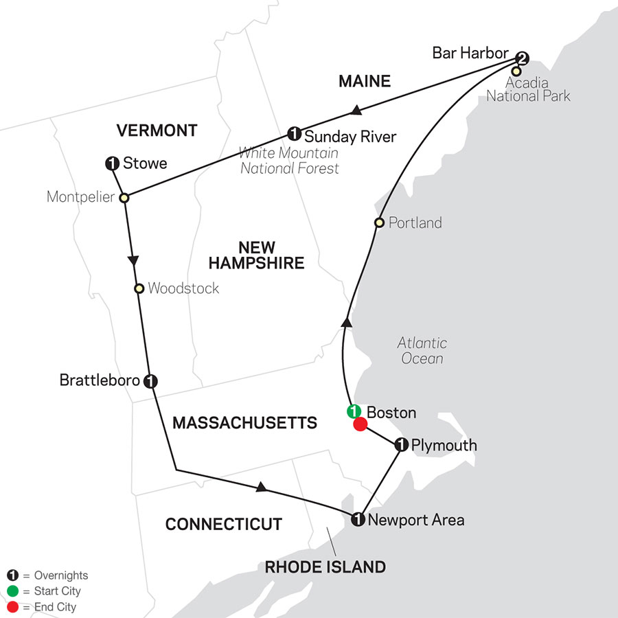 Classic New England map