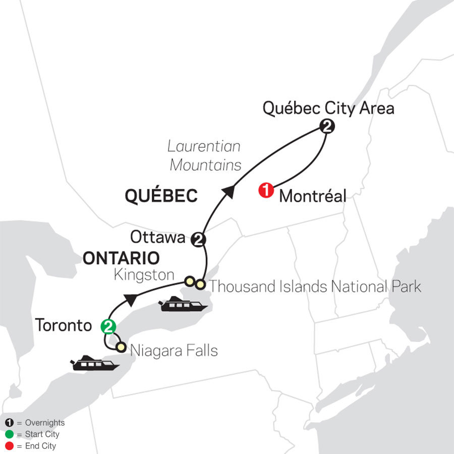 Ontario & French Canada map