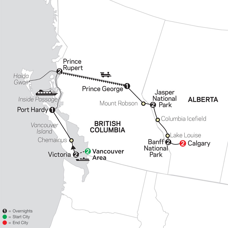 Western Canada with Inside Passage & Calgary Stampede map