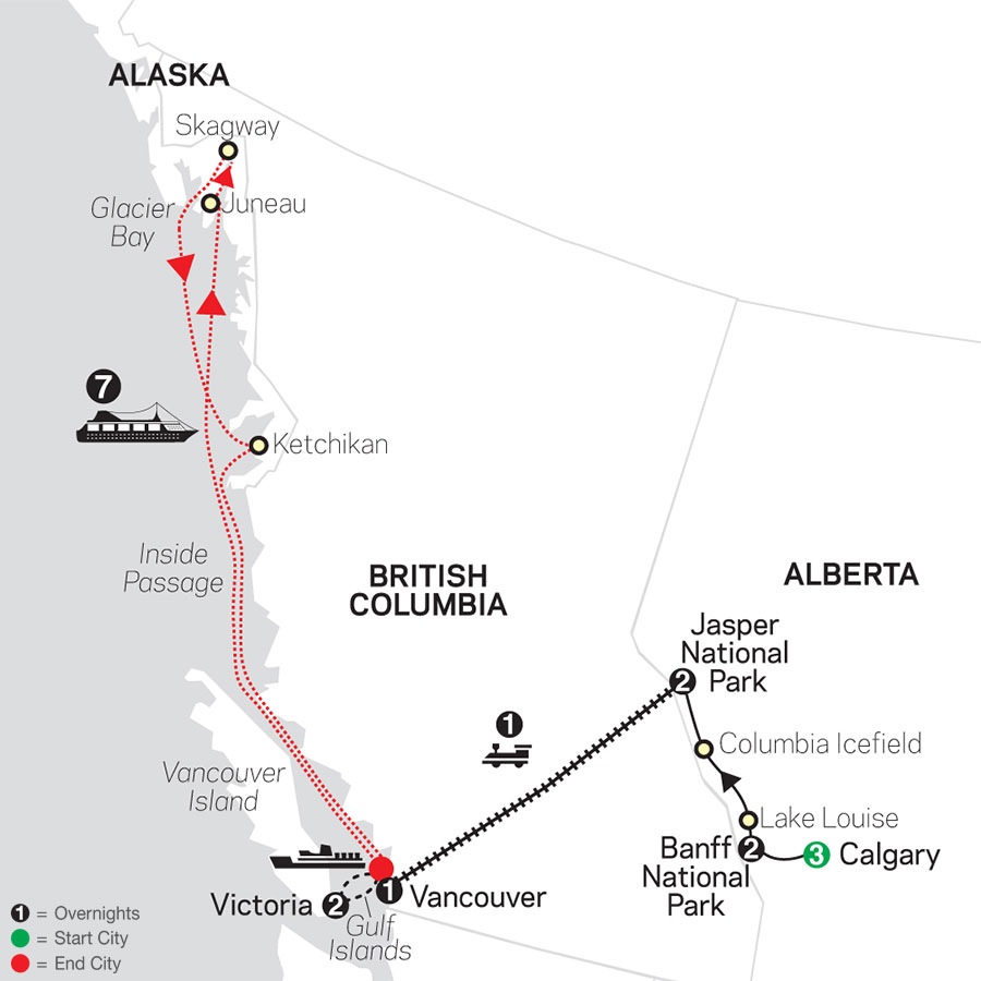 VIA Rail and the Canadian Rockies with Calgary Stampede & Alaska Cruise map
