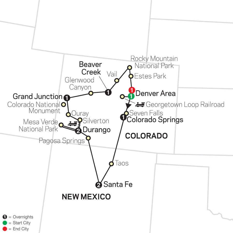 Rocky Mountain Discovery with Rail map