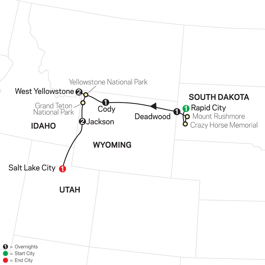 America's Greatest Treasure with Rapid City Start map