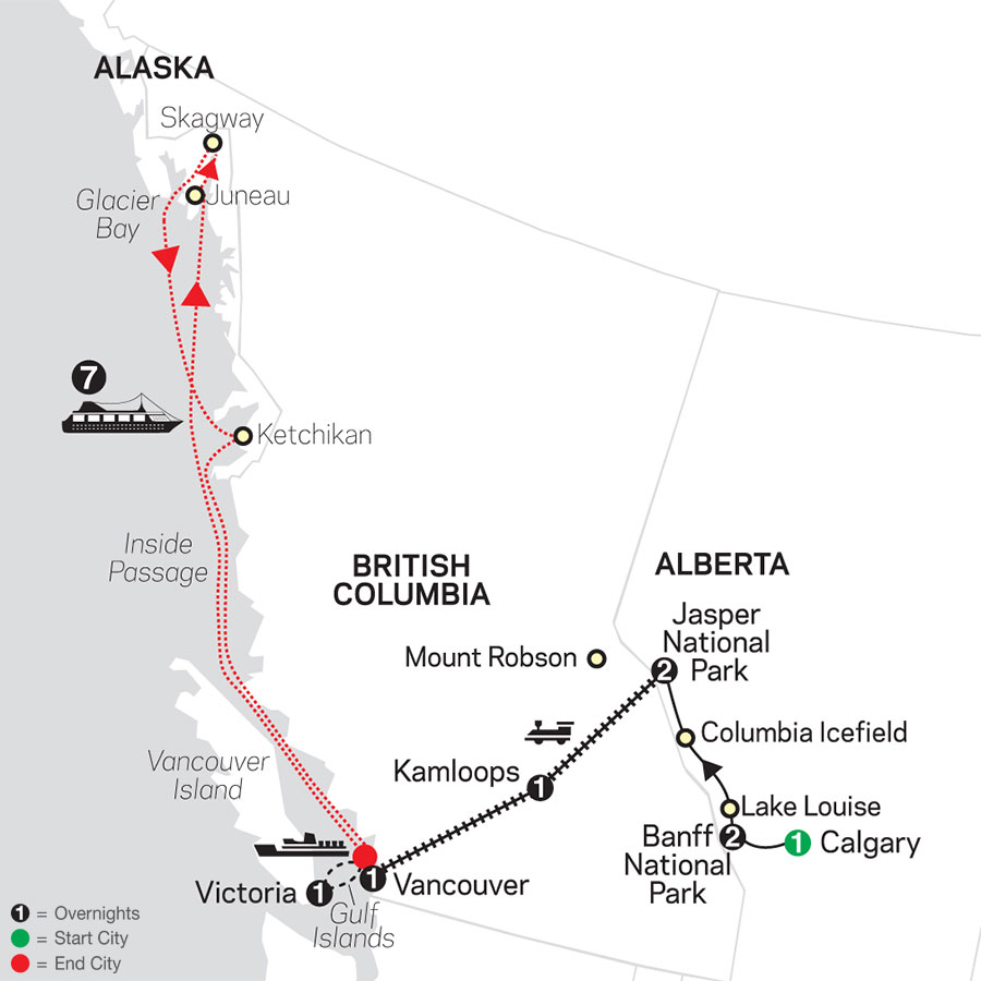 Western Canada by Rail with Alaska Cruise map
