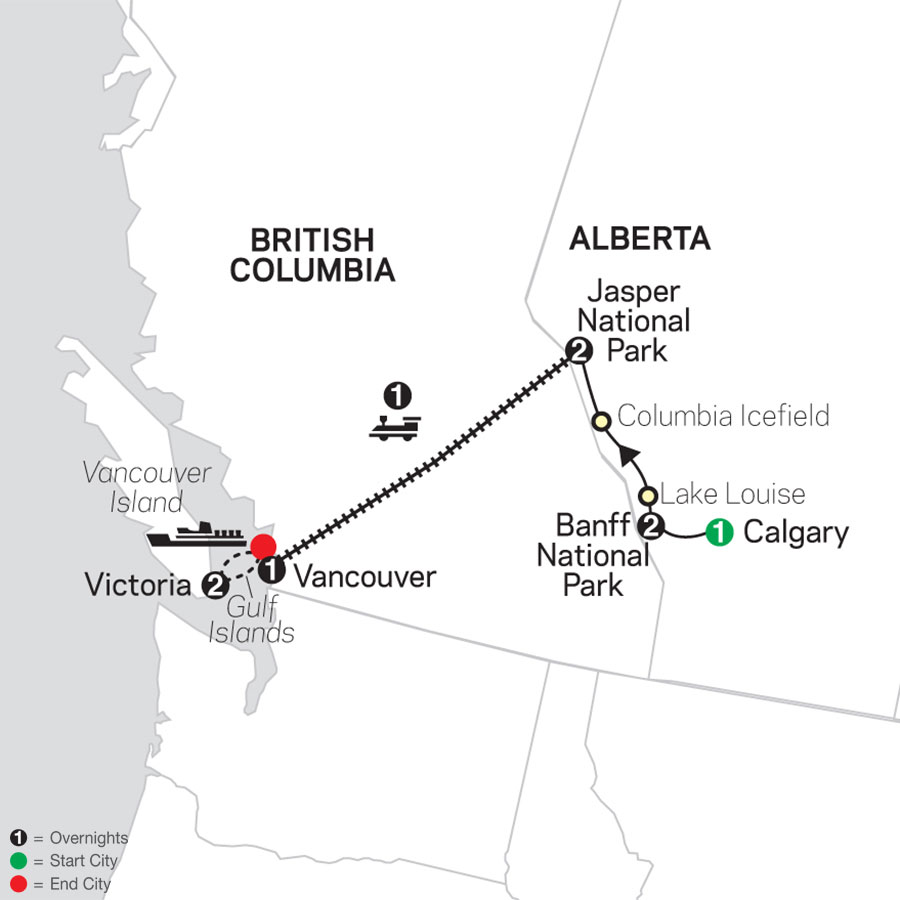 VIA Rail and the Canadian Rockies map