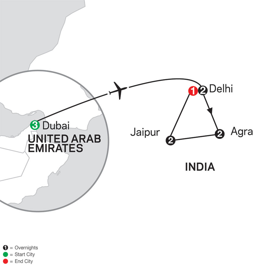 India's Golden Triangle with Dubai map