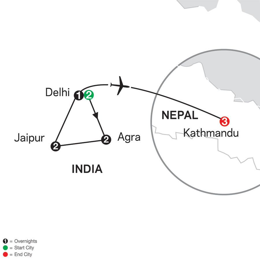 India's Golden Triangle with Kathmandu map