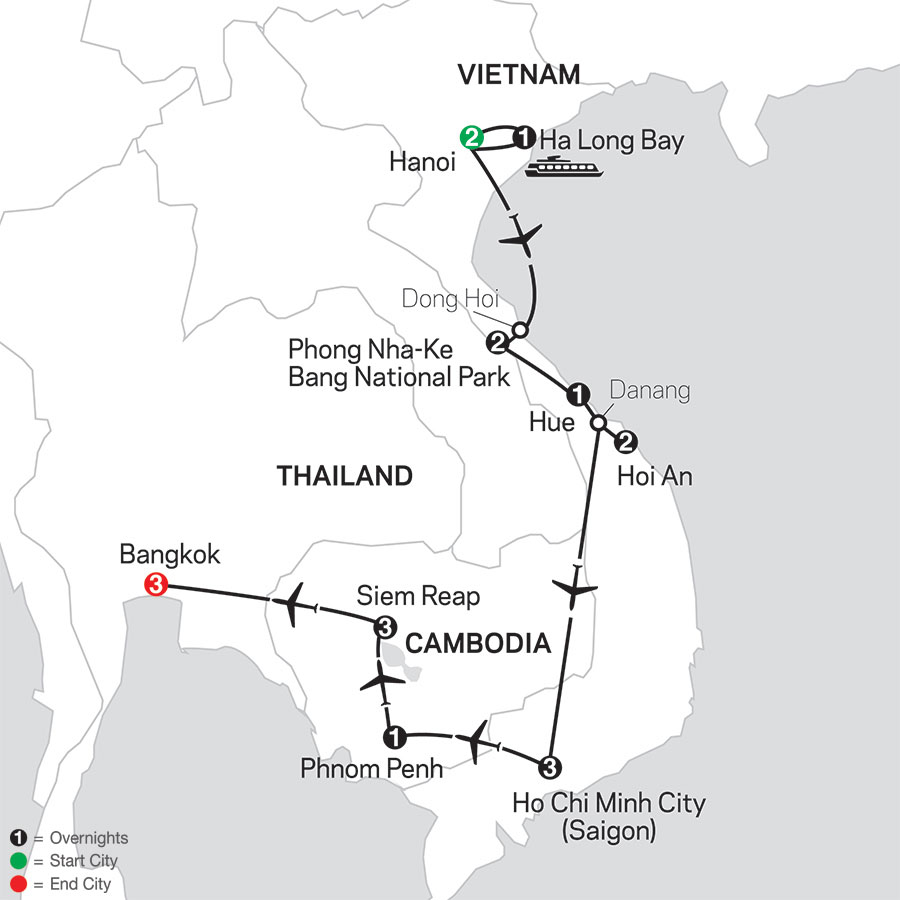 Simply Vietnam with Cambodia & Bangkok map